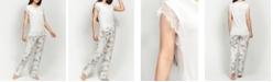 MOOD Pajamas Ultra Soft Lace Trim Floral Short Sleeve Pajama Set