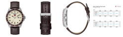GUESS Men's Brown Leather Watch 44mm