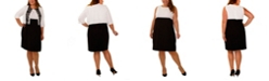 NY Collection Women's Plus Size Elbow Sleeve Jacket and Color blocked Dress