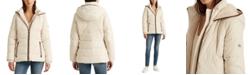 Lauren Ralph Lauren Faux Leather–Trim Down Coat