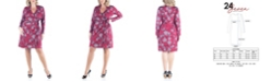 24seven Comfort Apparel Women's Plus Size Floral Mini Wrap Dress