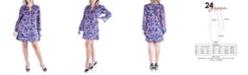 24seven Comfort Apparel Women's Plus Size Floral Print Shift Dress
