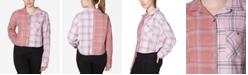 Ultra Flirt Juniors' Colorblocked Plaid Shirt