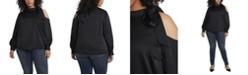 Vince Camuto Women's Plus Long Sleeve Cold Shoulder Tie Neck Blouse
