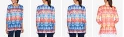 Ruby Rd. Plus Size Knit Embellished Tie-Dye Top