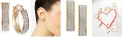 Italian Gold Glitter Hoop Earrings in 14k Rose Gold, White Gold or Gold