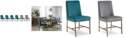 Furniture Cambridge Dining Chair 6-Pc. Set (Teal & Grey Side Chairs)