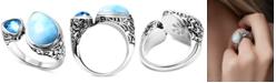 Marahlago Larimar & Blue Topaz (3/4 ct. t.w.) Cuff Ring in Sterling Silver