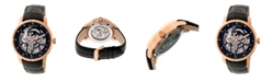 Heritor Automatic Ryder Black & Rose Gold & Black Leather Watches 44mm