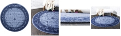 Bridgeport Home Aldrose Ald4 Blue 6' x 6' Round Area Rug