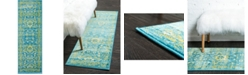 Bridgeport Home Linport Lin3 Blue 2' x 6' Runner Area Rug