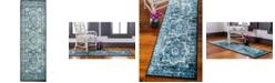 """Bridgeport Home Linport Lin7 Turquoise 3' x 9' 10"""" Runner Area Rug"""