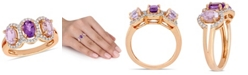 Macy's Amethyst (1-5/8 ct.t.w.) and Diamond (1/5 ct.t.w.) 3-Stone Halo Ring in 18k Rose Gold over Sterling Silver