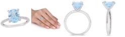 Delmar Blue Topaz (3-3/4 ct.t.w.) and Diamond (1/10 ct.t.w.) Ring in 10k White Gold