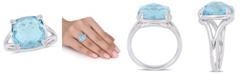 Macy's Blue Topaz (9 ct.t.w.) and  White Topaz (1/20 ct.t.w.) Split Shank Cocktail Ring in Sterling Silver
