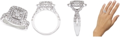 Macy's Diamond Cluster Cushion Halo Engagement Ring (1-1/2 ct. t.w.) in 14k White Gold