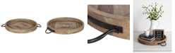 "Kate and Laurel Marmora Wood and Metal Round Tray - 18"" x 18.25"""