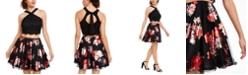 City Studios Juniors' 2-Pc. Glitter Lace & Floral-Print Dress