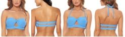 Jessica Simpson Rose Bay Textured Twist Bandeau Bikini Top