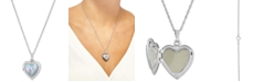 "Macy's Mother-of-Pearl Cross Heart Locket 18"" Pendant Necklace in Sterling Silver"