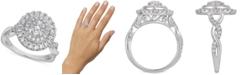 Macy's Certified Diamond Cluster Ring (1 ct. t.w.) in 14k White Gold