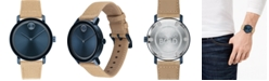 Movado Men's Swiss Bold Tan Waxed Canvas Strap Watch 40mm
