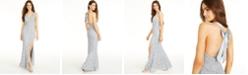 City Studios Juniors' Glitter Lace Bow-Back Maxi Dress