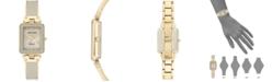 Anne Klein Women's Diamond Accent Tan & Gold-Tone Bangle Bracelet Watch 22x34mm