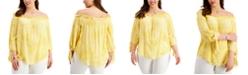 Michael Kors Plus Size Paisley-Print Off-The-Shoulder Top