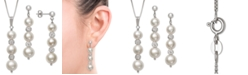 Macy's 2-Pc. Set Cultured Freshwater Pearl (6-8-1/2mm) & Crystal Pendant Necklace & Matching Drop Earrings in Sterling Silver
