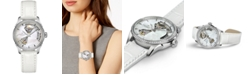 Hamilton Women's Swiss Automatic Jazzmaster Open Heart Diamond 1/3 ct. t.w. White Leather Strap Watch 36mm