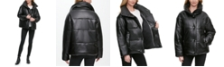 DKNY Oversized Faux-Leather Puffer Coat, Created for Macy's