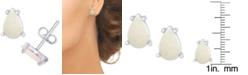Macy's Opal Teardrop Stud Earrings (3/8 ct. t.w.) in Sterling Silver