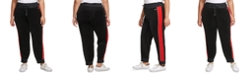 Tommy Hilfiger Plus Size Colorblocked Velour Jogger Pants With Micro-Tape Trim