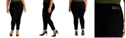 JM Collection Plus Size Faux-Leather-Trim Pull-On Pants, Created for Macy's