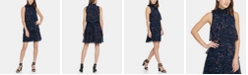 DKNY S/L High Neck Shift with Tiered Skirt