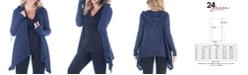 24seven Comfort Apparel Women's Plus Size Open Front Hooded Cardigan