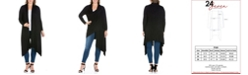24seven Comfort Apparel Women's Plus Size Extra Long Open Front Cardigan