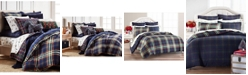 Martha Stewart Collection Midcentury Plaid Flannel Bedding Collection, Created for Macys