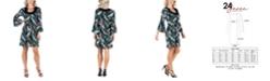 24seven Comfort Apparel Women's Feather Print Bell Sleeve Dress