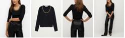 MANGO Women's Chain Fine-Knit Sweater