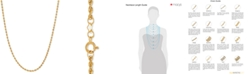 """Macy's 30"""" Polished Diamond-Cut Rope Chain Necklace (1-3/4mm) in 14k Gold"""
