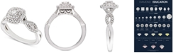 Macy's Diamond Double Halo Braided Engagement Ring (1/2 ct. t.w.) in 14k White Gold