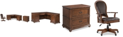 Furniture Clinton Hill Cherry Home Office, 3-Pc. Set (L-Shaped Desk, Lateral File Cabinet & Leather Desk Chair)