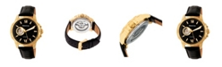 Heritor Automatic Bonavento Gold & Black Leather Watches 44mm