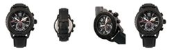 Morphic M51 Series, Black Case, Black Leather Chronograph Band Watch w/Date