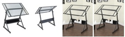 Clickhere2shop Solano Adjustable Drafting Table - Charcoal/Clear