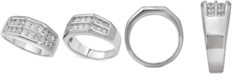 Macy's Men's Diamond Double Row Ring (1 ct. t.w.) in 10k White Gold and 10k Yellow Gold