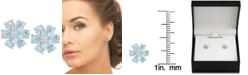 Macy's Blue Topaz (2-3/8 ct. t.w.) & White Topaz Accent Flower Stud Earrings in Sterling Silver