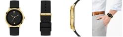 GUESS Men's Supernova Diamond-Accent Black Silicone Strap Watch 44mm